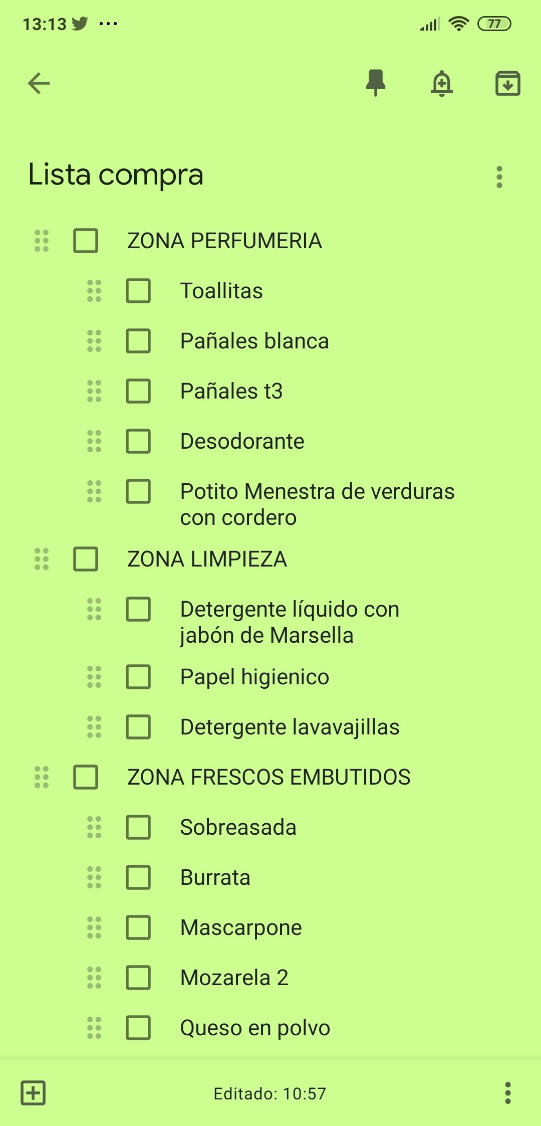 lista de la compra del Mercadona
